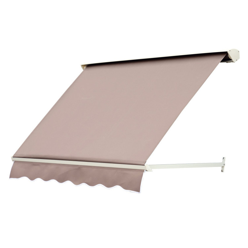 store banne manuel inclinaison r glable alu polyester 180 x 70 cm brun. Black Bedroom Furniture Sets. Home Design Ideas