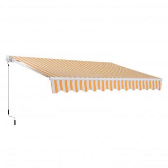Store Banne Manuel Toile Rétractable 3 x 2.5 m Orange Blanc