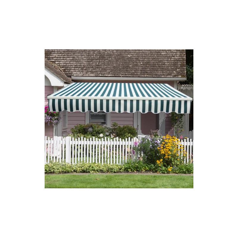 store banne manuel de jardin terrasse outdoor vert et blanc. Black Bedroom Furniture Sets. Home Design Ideas