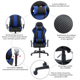 Chaise de bureau gaming PLAY Bleu