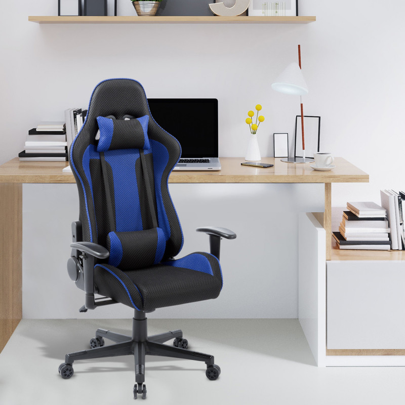 chaise de bureau gaming play bleu. Black Bedroom Furniture Sets. Home Design Ideas
