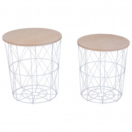 Lot de 2 Tables Basses Gigognes Style Scandinave + Paniers de Rangement Coloris Blanc