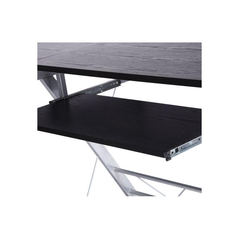 bureau d 39 angle noir en fibre de bois. Black Bedroom Furniture Sets. Home Design Ideas