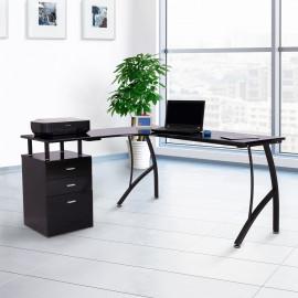 Bureau d'angle avec 3 tiroirs – Noir
