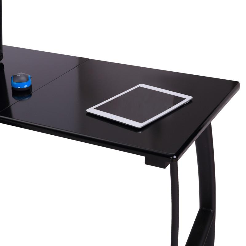 bureau d 39 angle avec 3 tiroirs noir. Black Bedroom Furniture Sets. Home Design Ideas
