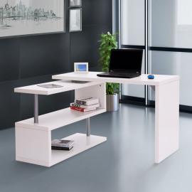 Bureau informatique d'angle ELSA avec rangement blanc