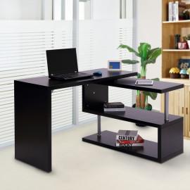 Bureau informatique 2 Positions avec Etagère – Atlanta - Noir