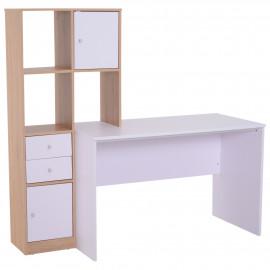 Bureau multi rangements couleur blanc chêne