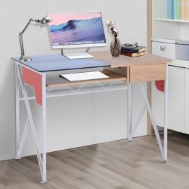 Bureau Informatique Table Bureau Verre Trempé avec Tablette et Tiroir SEATTLE Bleu Chêne