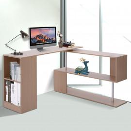 Table Informatique Bureau d'Angle Pivotante 360°avec Étagères BERLIN Chêne