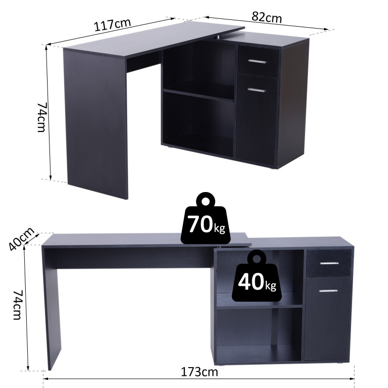 Meuble De Rangement Bureau Noir.Bureau Informatique Meuble D Angle Multi Rangements Avec