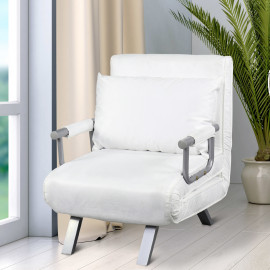 Fauteuil Chauffeuse Convertible Canapé-Lit TROPIC Blanc