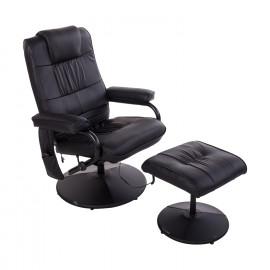 New York - Fauteuil de Massage et Relaxation Chauffant Inclinable avec Repose-Pied Noir