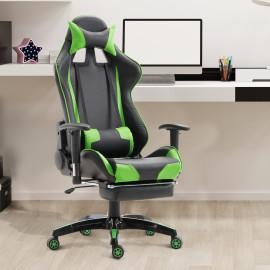 Chaise de bureau - fauteuil gamer inclinable vert et noir