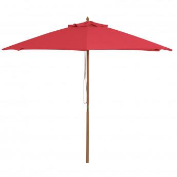 Parasol rouge structure en bambou