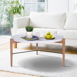 Table Basse Tavoché Bicolore Blanc et Bois Naturel