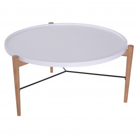Table Basse Tavoché Bicolore Blanc et Bois Naturel