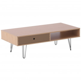 Table Basse Rectangulaire Design Scandinave Bois Naturel