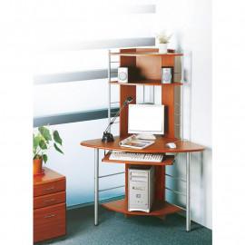 Bureau informatique d'angle avec tablette coulissante - couleur noix