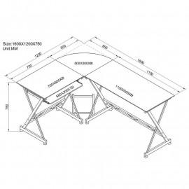Bureau Informatique d'angle - Aspect bois de chêne