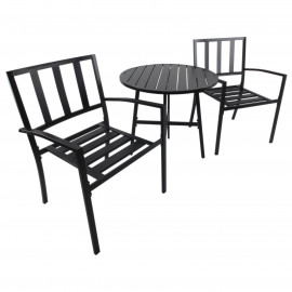 Ensemble de Table et Chaises de Jardin Bistro Métal Noir