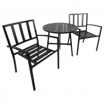 Ensemble de Table et Chaises de Jardin Bistro Métal Noir - MyCocooning