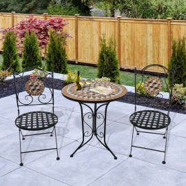 Ensemble table et chaises de jardin Montmartre esprit Bistro Multi-couleurs