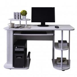 Bureau Informatique avec tablette coulissante et étagères - blanc