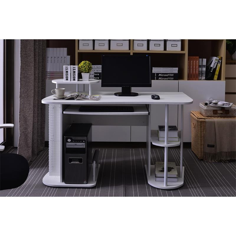bureau informatique avec tablette coulissante et tag res blanc. Black Bedroom Furniture Sets. Home Design Ideas
