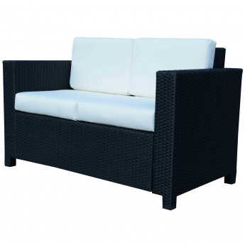 Canapé de Jardin 2 places Anglet en résine tressée noir & blanc