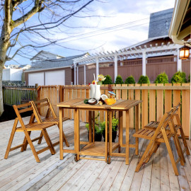 Salon de jardin Hendaye en bois d'Acacia Table pliante et 4 chaises - couleur naturelle