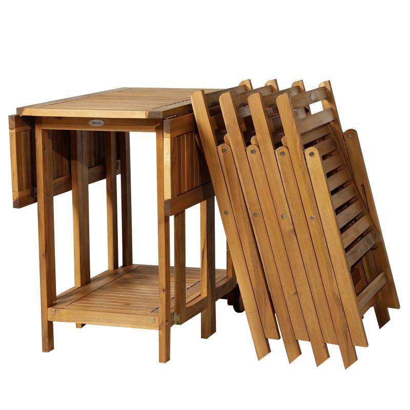 Salon de jardin Hendaye en bois d\'Acacia Table pliante et 4 chaises ...