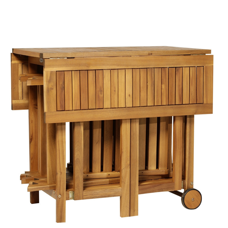 Salon de jardin Hendaye en bois d\'Acacia Table pliante et 4 ...