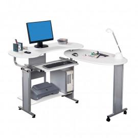 Bureau Informatique 2-en-1 avec bureau adjacent et pivotant - blanc