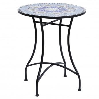 Salon de jardin mosaïque ronde métal céramique tricolore - MyCocooning