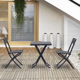 Lot de jardin Table et ses 2 Chaises Pliantes ESQUISSE