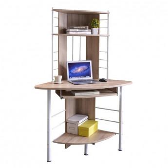 Bureau informatique d'angle avec tablette coulissante - chêne