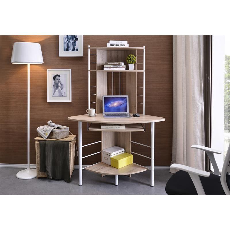 bureau informatique d 39 angle avec tablette coulissante ch ne. Black Bedroom Furniture Sets. Home Design Ideas