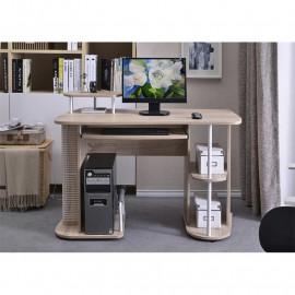 Bureau informatique avec tablette coulissante et étagères – chêne
