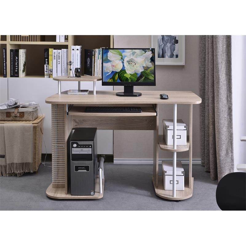 bureau informatique avec tablette coulissante et tag res. Black Bedroom Furniture Sets. Home Design Ideas