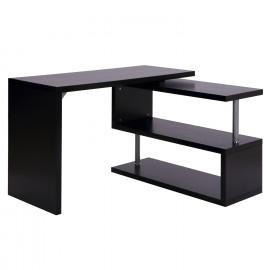 Table d'Ordinateur 2 Positions avec Etagère Noir