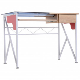 Table Bureau Créatif avec Tablette et Tiroir Antidérapant - Bleu Chêne