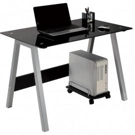 Bureau informatique design en verre avec pied en métal