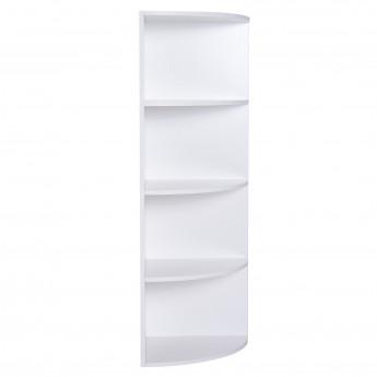 Étagère d'Angle Bibliothèque à 4 Niveaux Murale 40 x 40 x 120 cm Panneau de Particule Blanc