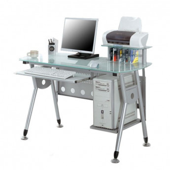 Bureau informatique avec plateau en verre et tablette coulissante