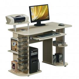 Bureau informatique avec étagères et tablette coulissante - érable