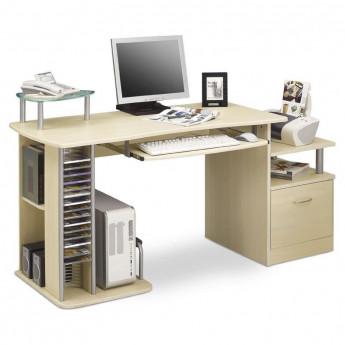 Bureau informatique avec tiroir de rangement - couleur érable