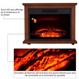 Cheminée Electrique sur Roulettes Effet Flammes LED Chêne Foncé