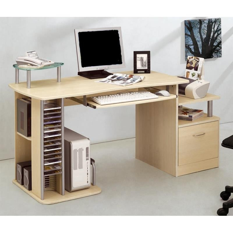 bureau informatique kong avec tiroir de rangement couleur rable. Black Bedroom Furniture Sets. Home Design Ideas