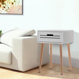 Table d'Appoint Style Scandinave avec Tiroir Pieds Inclinés Blanc